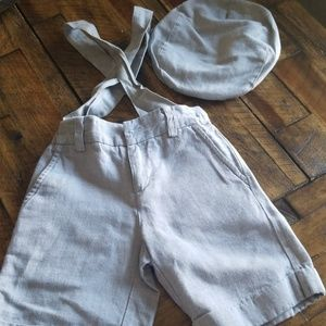 Linen shorts  with suspenders and hat